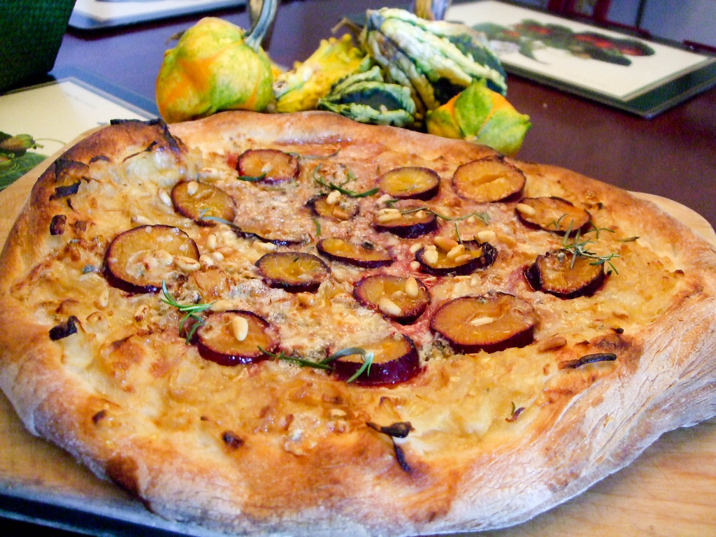 Plum Pizza with Bayley Hazen Blue, Caramelized Onions, Rosemary and Pine Nuts
