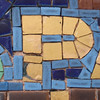 P gold and blue mosaic tile
