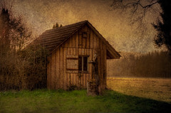Little barn on the field photo by Swissrock