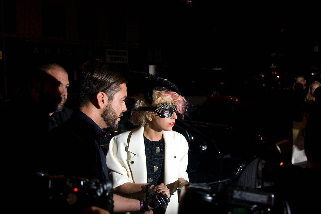Studded Mask: Lady Gaga and Lorenzo Martone Arrive, Marc Jacobs Show