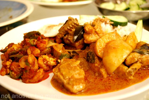 Home cooking - curry chicken with nasi lemak