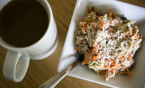 Breakfast: Bircher Muesli with Carrots, Coconut, Pecans and Walnuts