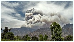 Due North from roof of my garage - Station Forest Fire from East Altadena Saturday 08.30.09 2:15PM photo by Jared_R_L