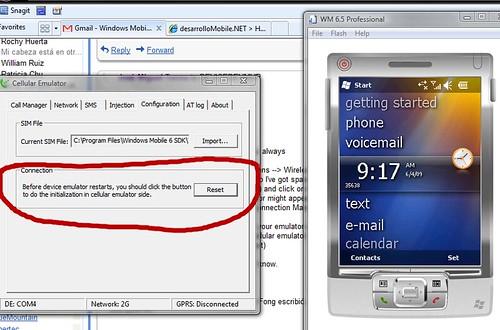 Conectar Emulador Windows Mobile 6.5 a Cellular Emulator
