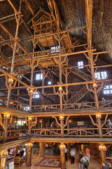 "Old Faithful Inn lobby interior - a log hotel in Yellowstone NP photo by IronRodArt - Royce Bair (""Star Shooter"")"