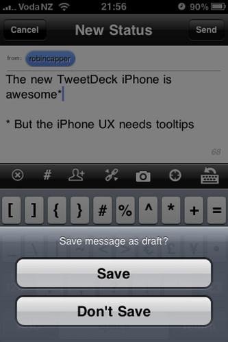 TweetDeck iPhone Draft