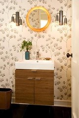 Modern wallpaper: Powder room by Nickey Kehoe photo by SarahKaron