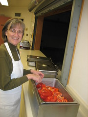 Mom steaming the peppers