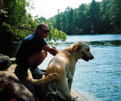Dad and Dublin at the lake