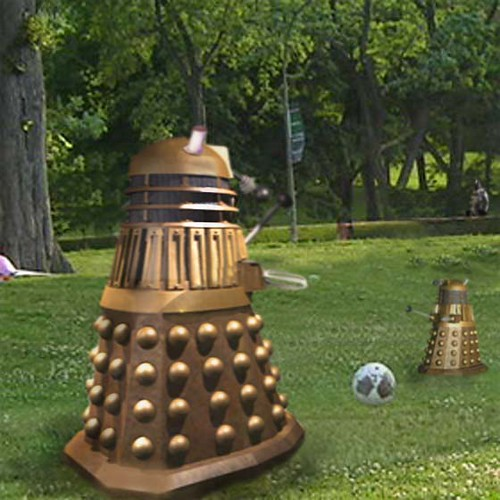 Dalek in park with boy  2