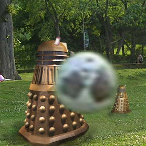 Dalek in park with boy 3