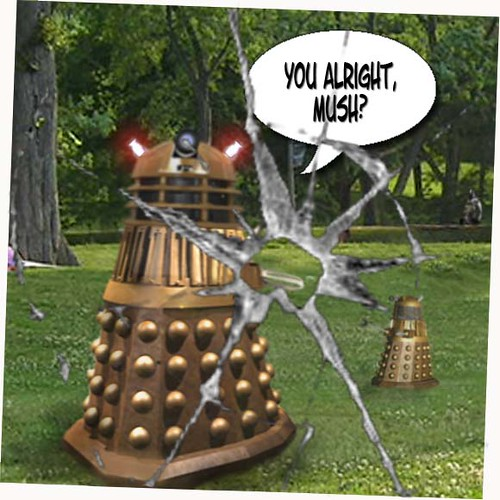 Dalek in park with boy 6
