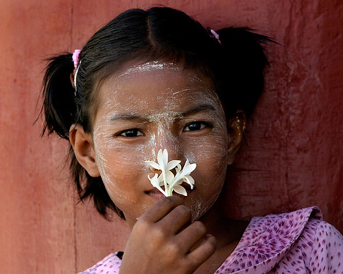 Bagan - girl smelling flower