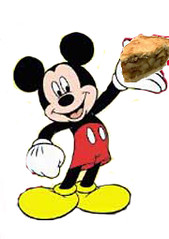 Mickey Mouse eating apple pie