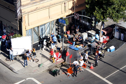 commercial shoot at 4th and main