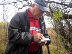 Dad logging his visit