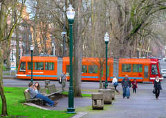 Portland Streetcar near Portland State University