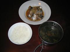 Miso taste steamed mackerel pike (Sanma no misoni)