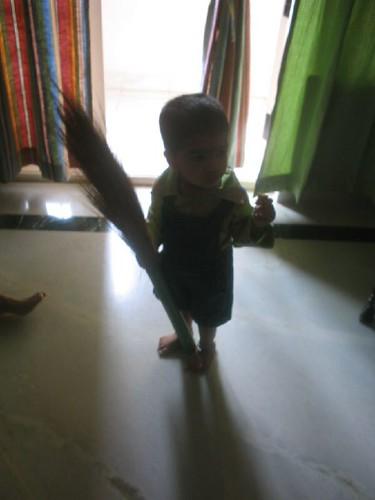 Wearing my new Deepavali dress and giving thoapam company