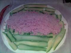 castagne e prosciutto cotto su letto di pasta sfoglia e zucchine