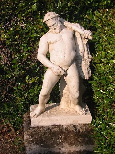 replica of drunk peeing hercules, herculaneum