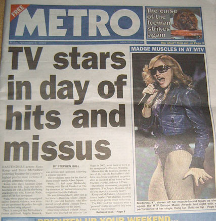 Metro's front cover reporting the Kemp Wade McFadden story