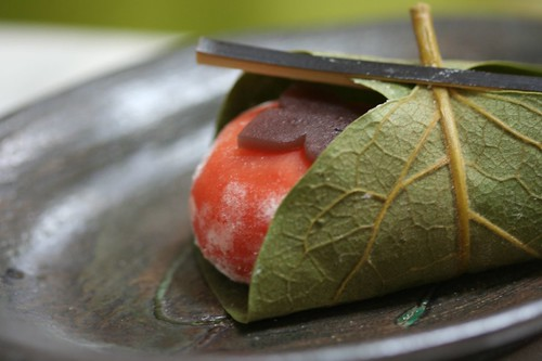 Japanese-style confectionery looks like a persimmon