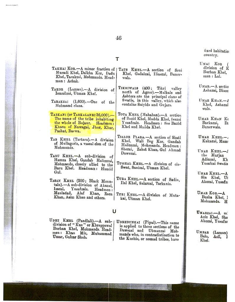 Tarkani / Tarklanri Tribe - Kakazai Pathans - Page 46 from