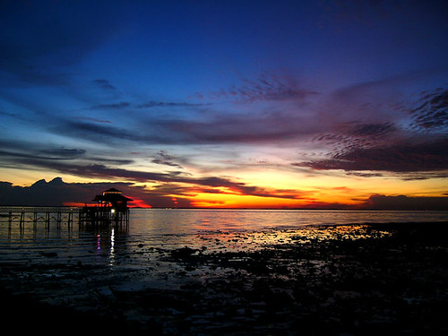 Sunset on a kelong in Bintan, Indonesia