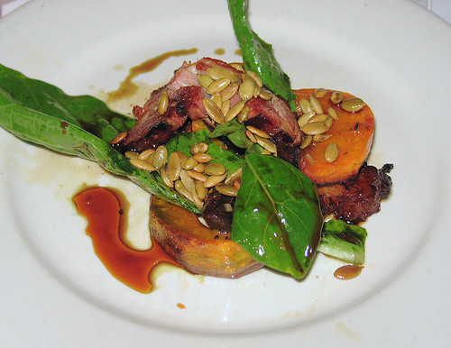 Roasted kabocha squash and braised bacon