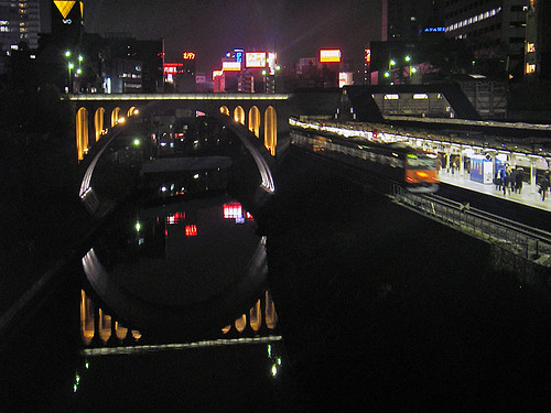 Hijiri bridge and static river