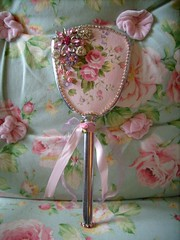 shabby,cottage,french,altered art,paris,vintage,rhinestone,roses hand mirror 1 photo by stephanies cottage!