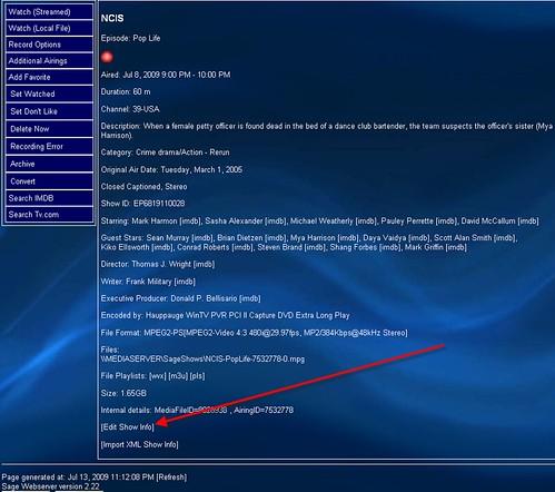 SageTV Edit Media Info 3