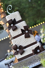 Ivory & Brown Piping w/ Chocolate Fondant Bows photo by Designer Cakes By April