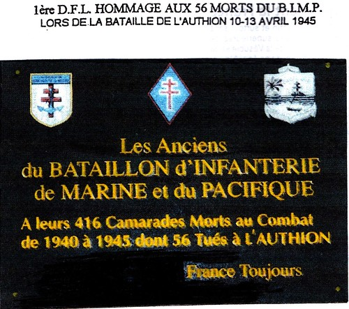 Authion 1945- Plaque aux Morts pour la France du  BIMP