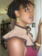 Organic Collar Capelet in Natural Browns Side View
