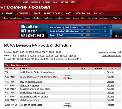 NCAA College Football Schedule