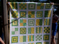 Front of the quilt photo by knitterleigh