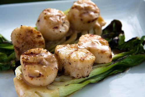 Grilled Scallops with Baby Bok Choy & Soy-Ginger Beurre Blanc