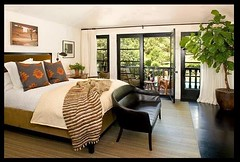 Neutral bedroom + black floor + lush tree: California home by Nickey Kehoe photo by SarahKaron