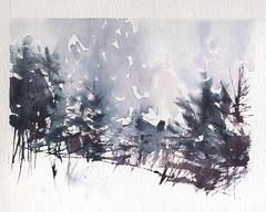 Conifers in snow palette knife & brush photo by skyeshell