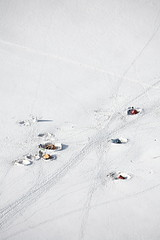 France. Nr Mont Blanc. Campers in the Snow. photo by David Forman Travel Photography.