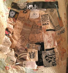 """WIP """"Material Girl"""" Fabric dress assemblage with tags photo by peregrine blue"""