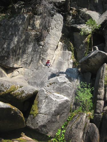 H, rock climbing