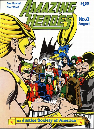 Justice Society cover by Joe Staton, Amazing Heroes 3, 1981