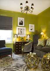 Ideas for small spaces: Bright green + gray + small tables photo by Room Lust