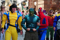 Superheroes in Chester City Centre 4 photo by Steve Greaves