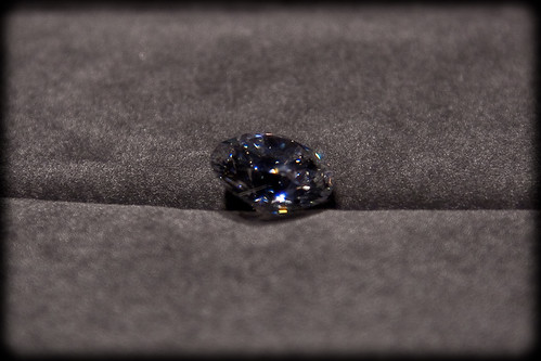 The diamond, seen here in the photograph is nearly actual size.