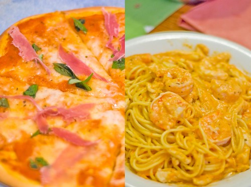 Homemade Pizza, and Prawns with Tomate Cream Pasta