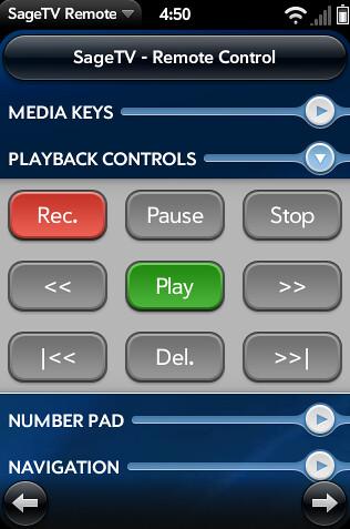 Palm Pre SageTV Remote 3